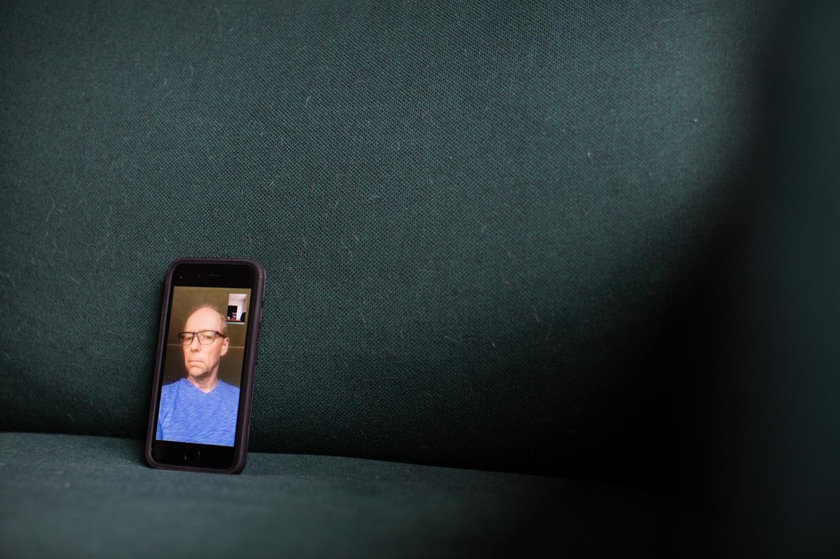Practicing social distancing, Steve Humphrey sits for a portrait on FaceTime from Portland, Ore., Saturday, March 14, 2020.