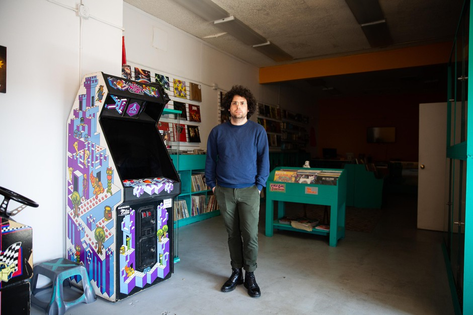 Mo Troper at his video game and music store, Hawthorne Game Exchange, in Portland, Ore., Thursday, March 19, 2020.