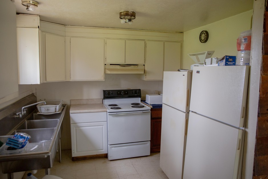 The communal kitchen in one of the migrant worker housing units at Liepold Farms in Boring, Ore., on Friday, April 3, 2020.