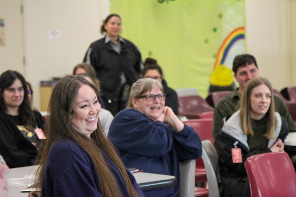 PSU capstone students and incarcerated women at Coffee Creek Correctional Facility listen to final presentations in March. The meeting was the last in-person class for the students. As spring semester comes to a close, work is done via printed out packets.
