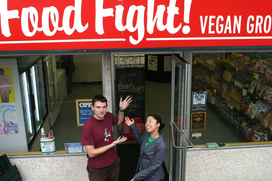 Chad Miller and Emiko Badillo presenting their new grocery store, Food Fight, in 2003.