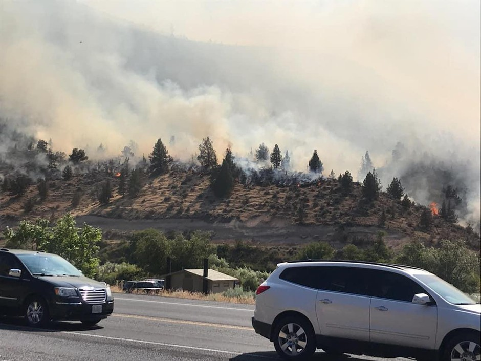 The Mecca fire burning near Highway 26.