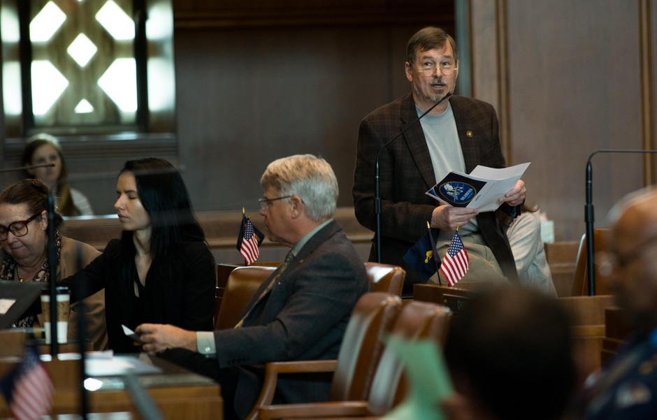 Republican Oregon state Sen. Brian Boquist, R-Dallas, speaks in support of a resolution honoring those who fought and died in the Modoc War in the Oregon Senate chambers at the Oregon Capitol in Salem, Ore., Tuesday, April 2, 2019.
