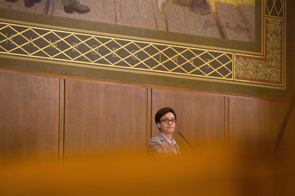 Speaker of the House Tina Kotek, D-Portland, watches a vote from the dais in the House chamber at the Captiol in Salem, Ore., Thursday, April 11, 2019.