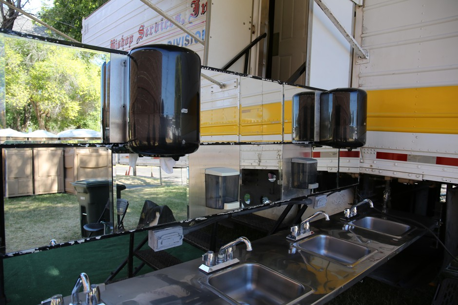 Mobile sinks and showers set up on the Warm Springs Reservation, Aug. 2, 2019.