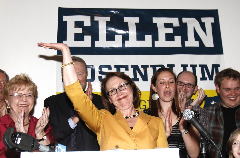 Ellen Rosenblum celebrates after winning the primary election Tuesday, May 15, 2012, in Portland, Ore.