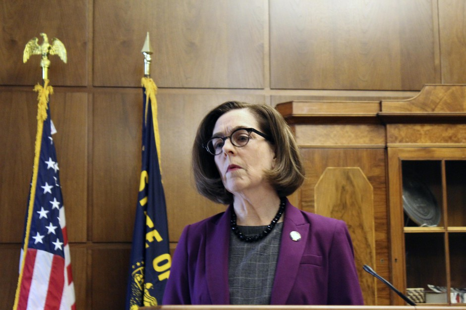 Gov. Kate Brownat a news conference Monday, Feb. 24, 2020 in Salem, Ore.