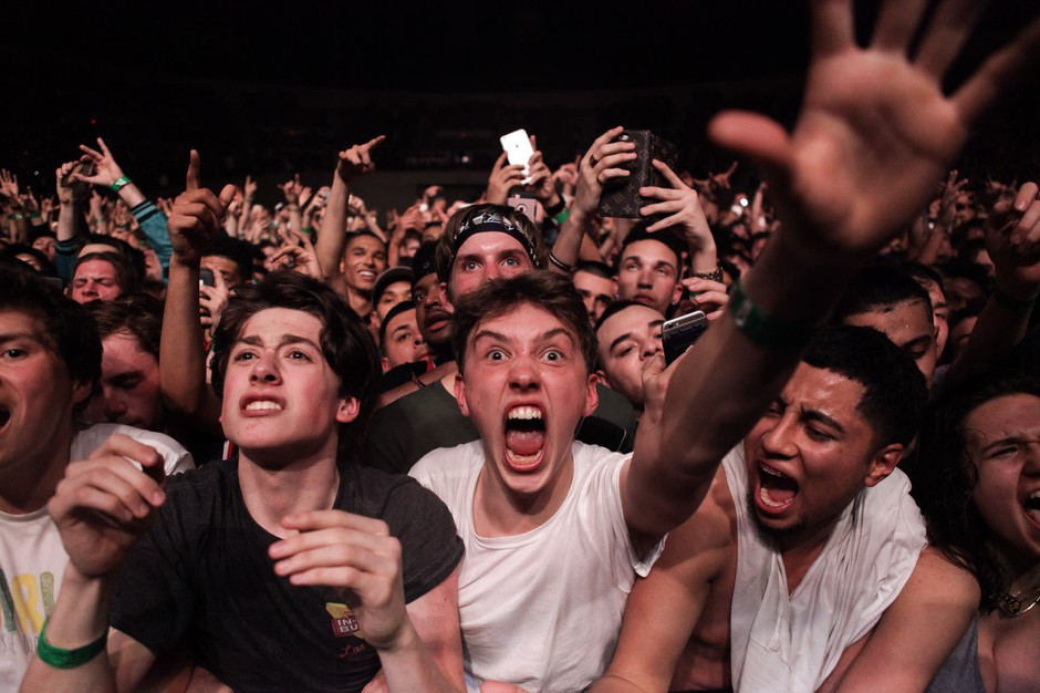Front row at a Travis Scott show.