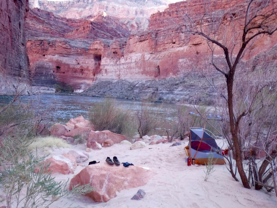 """One of Fisher's camps along the Colorado River: """"All you really need is a tent, a sleeping bag, food, good company and a good view. """""""