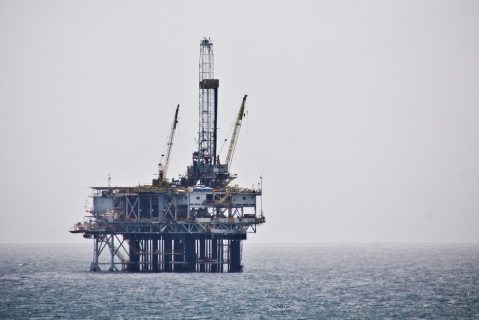 An oil platform off the coast of Southern California.