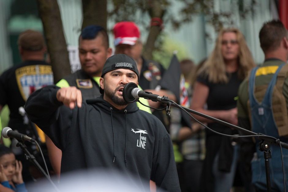 A 2017 file photo of Patriot Prayer leaderJoey Gibson addressing a crowd at a rally and holding a moment of silence for the victims of the Portland MAX train stabbings.