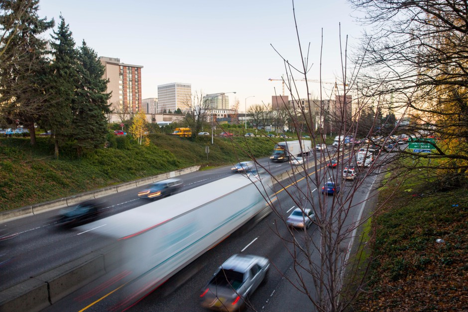 Interstate 5 runs through the Rose Quarter in Portland, Oregon, Thursday, Dec. 7, 2017.