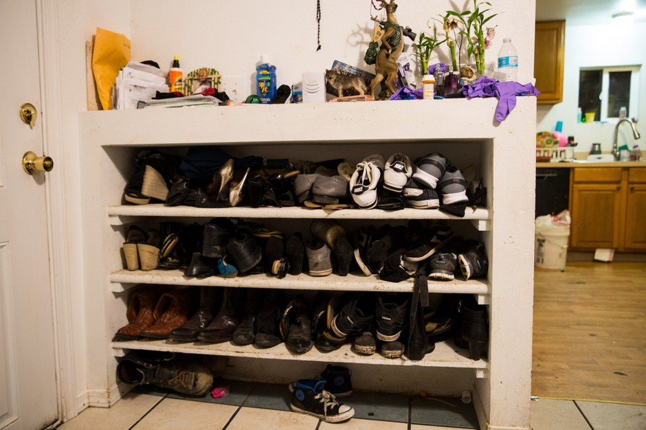 Shoes line Lourdes' family home in Woodburn, Oregon.