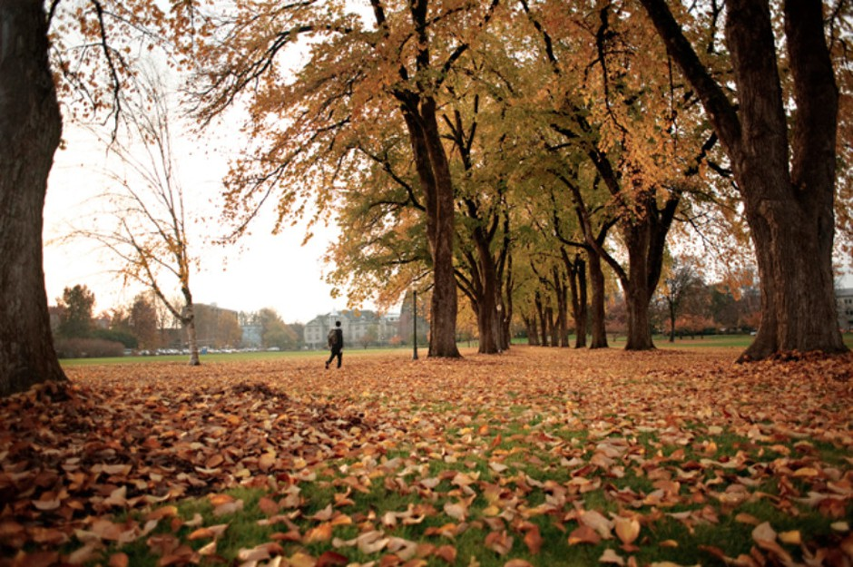 A student walks across Oregon State University's campus in this file photo.