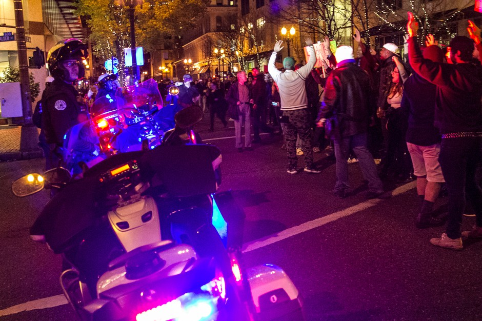 & Portland Protesters Voice Anger About Ferguson Decision . News | OPB