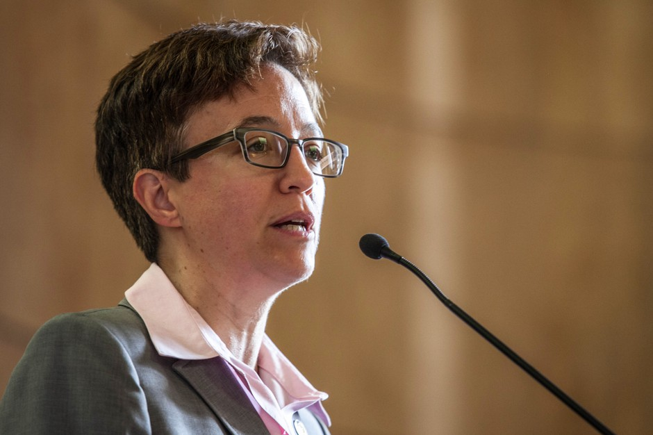 Speaker of the House Tina Kotek speaks to the public in the rotunda of the capitol building in Salem on Thursday, May 14, 2015.