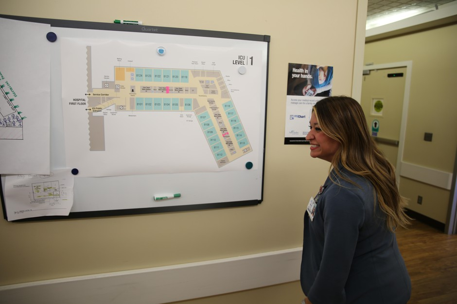 Selena Smith, critical care director for Bend and Redmond hospitals, smiles as plans for a new intensive care unit near completion, March 19, 2019.