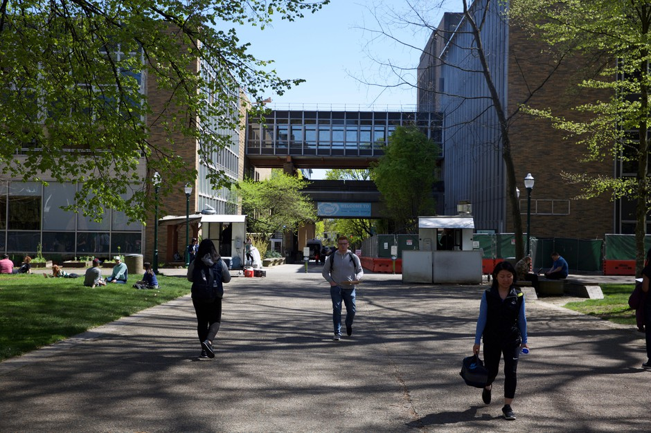 Students walk across the South Park blocks in the heart of Portland State University's downtown campus.