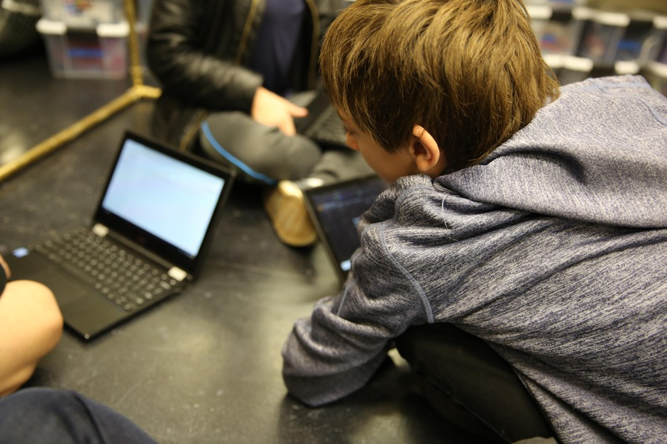 Class Of 2025 student Ethan works on a project with his sixth-grade classmates at a Beaverton middle school drama class.