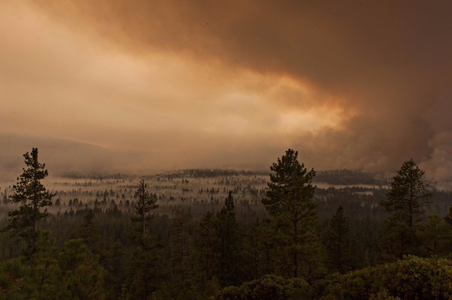 The Milli Fire burning west of Sisters, Oregon.