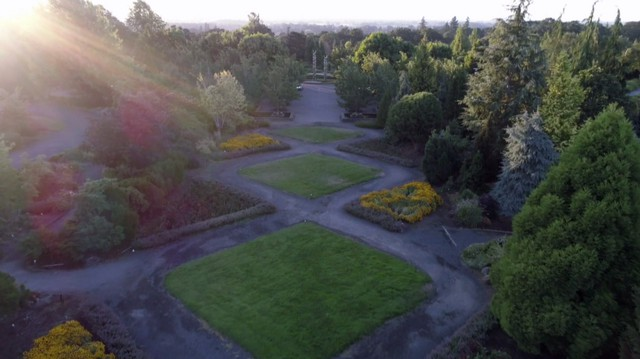 The patterned turf of the Axis Garden seen from the air.