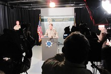 Press conference Tuesday night following the mall shooting.