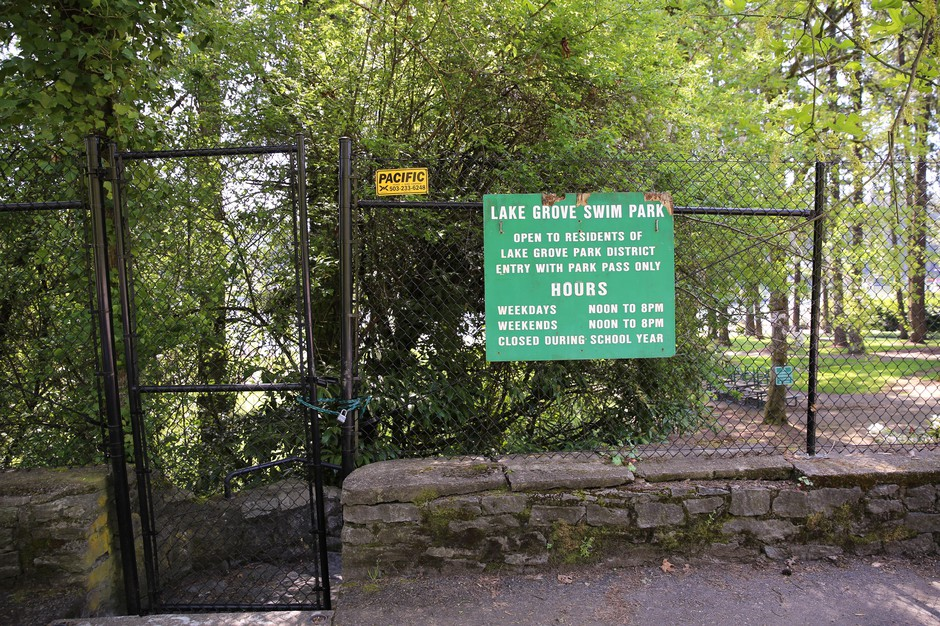 The Lake Grove Swim Park on Oswego Lake is operated by the school board and only accessible to certain homeowners.