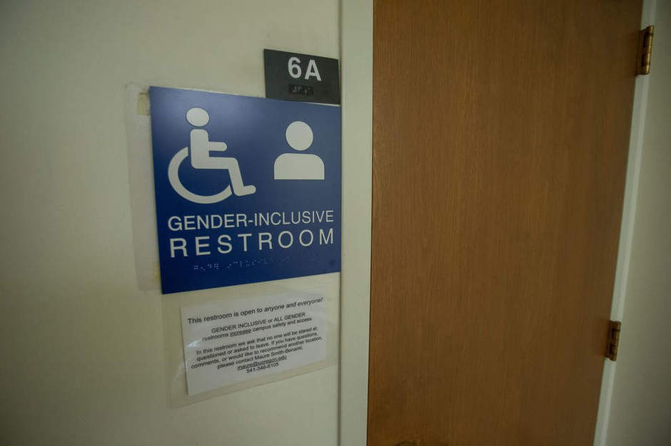 Signage for a gender-inclusive bathroom at the University of Oregon.